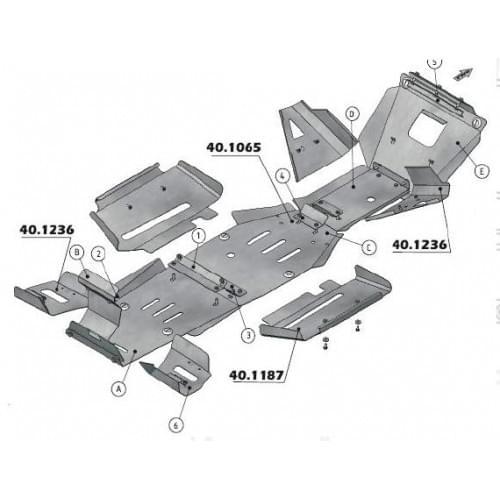 Защита днища для Yamaha Grizzly 660 (нержавейка)